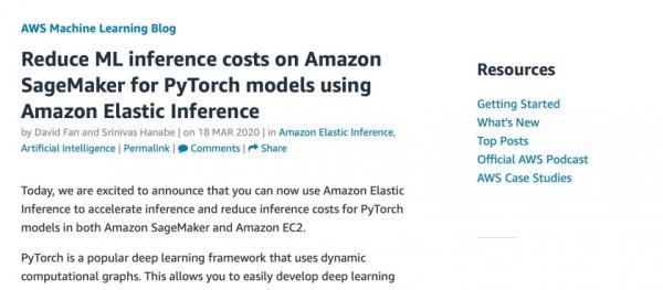 Amazon Elastic Inference新增PyTorch机器学习模型