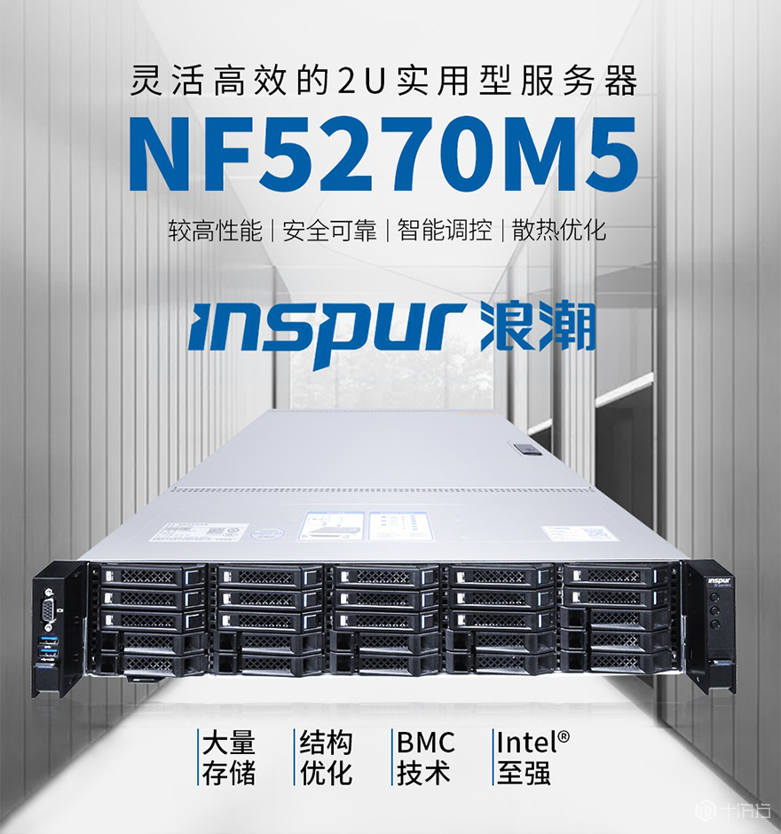 浪潮2U机架式服务器NF5270M5 灵活扩展超高性价比 Intel_Xeon_4210 2.2G 10C/MEM 16G DDR4 2933 ECC/HDD 600G S AS12Gbps 10K