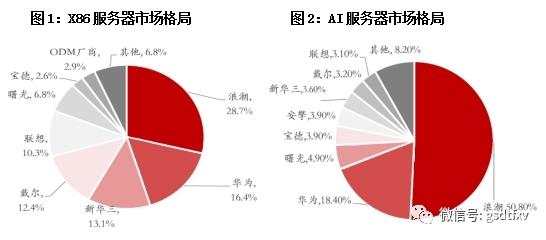 在高端AI服务器领域,浪潮服务器市占率超过50%