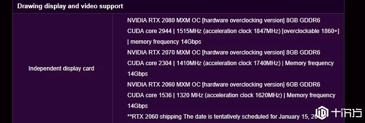 制造厂商泄漏Nvidia Mobile RTX 2080, 2070和2060的规格