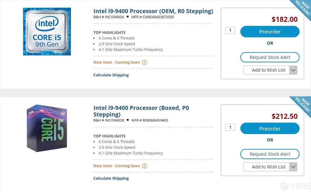 i5-9400即将上市,国外预售价212.50美元!