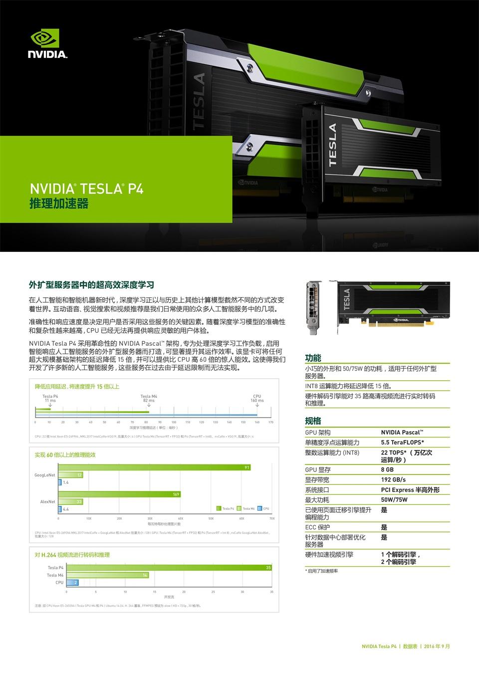 英伟达 TESLA  P4 8GB GDDR5/CUDA 加速HPC超算显卡