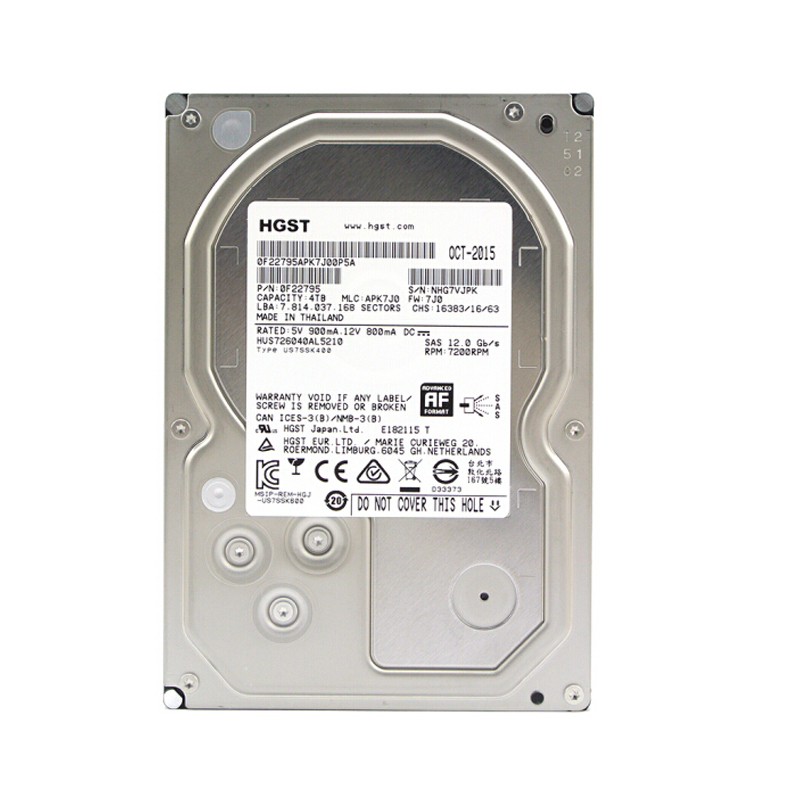 HGST HUS726040AL5210 4T SAS 7200RPM HDD 企业级机械硬盘