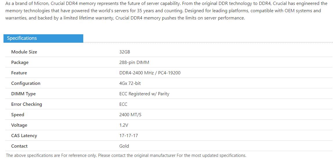美光 CT32G4RFD424A 32GB 内存 DDR4 288-pin ECC Reg DIMM 2400 MT/s