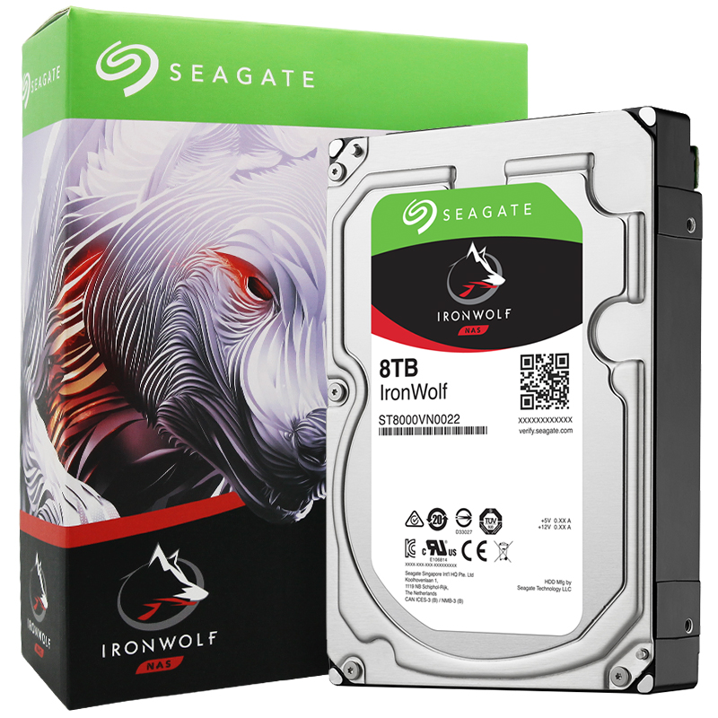 希捷 酷狼 系列 8TB 7200转256M SATA3 网络存储(NAS)硬盘(ST8000VN0022)