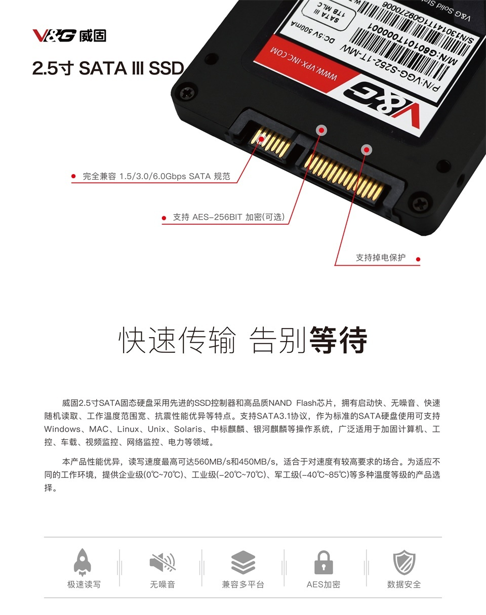 威固 S100系列 标准 2.5寸 SATA III 企业级/军工级 SSD