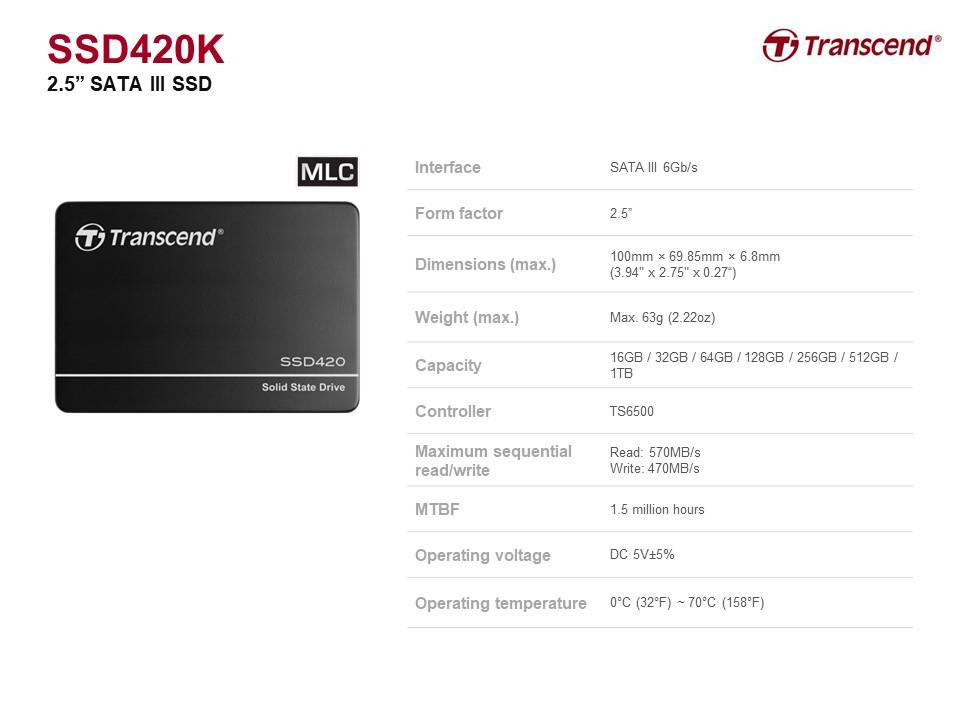 创见 SSD420K 512 GB 2.5 in. 内置 MLC SSD 硬盘  SATA III 接口