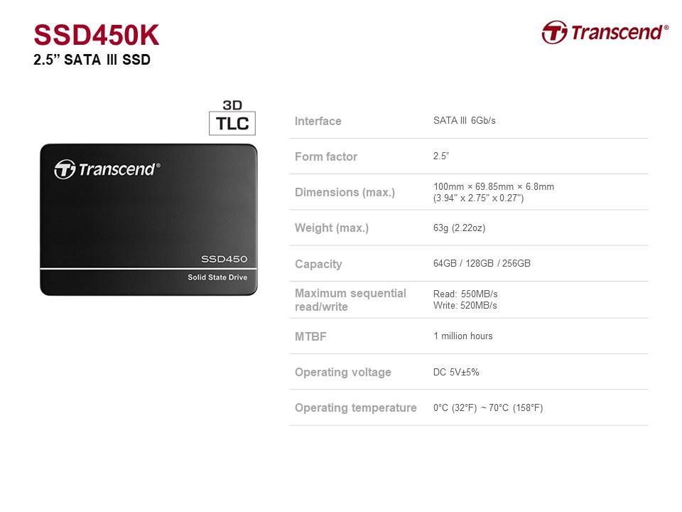 创见 SSD450K 128GB 2.5 in. 内置 3D TLC  SATA III 接口 SSD 硬盘