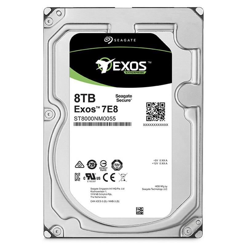 希捷 ST8000NM0055 希捷 Exos 7E8 系列 8TB 7200转 512n 256M SATA 企业级硬