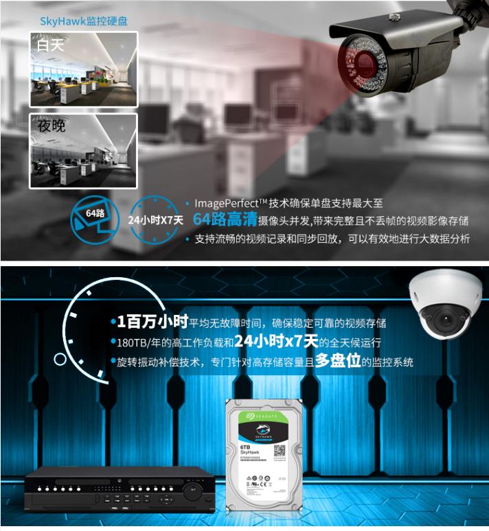 希捷(SEAGATE) 酷鹰监控级硬盘6TB 台式机械硬盘7200转 ST6000VX0023