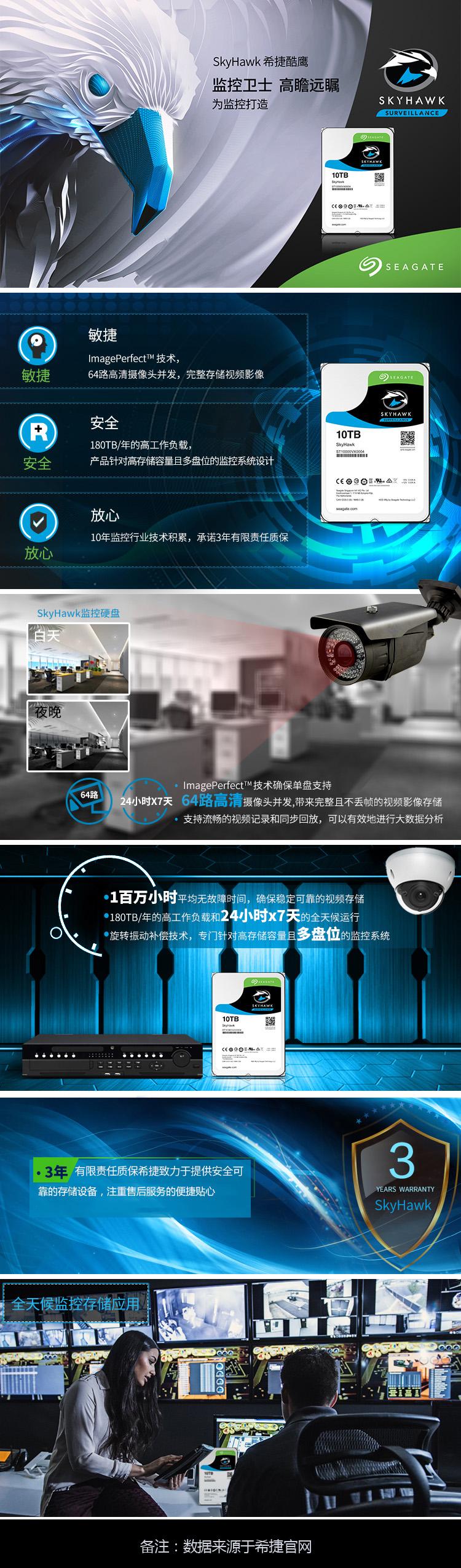 希捷(SEAGATE) 酷鹰10TB 企业级监控级硬盘 ST10000VX0004