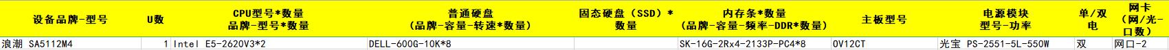 浪潮 SA5112M4 Intel E5-2620V3*2 DELL-600G-10K*8 SK-16G-2Rx4-2133P-PC4*8
