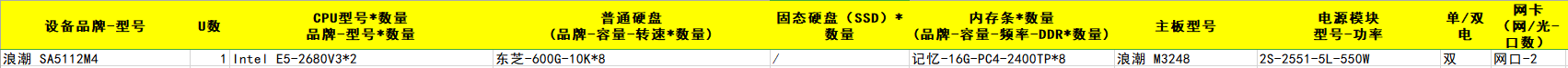 浪潮 SA5112M4 Intel E5-2680V3*2 东芝-600G-10K*8 记忆-16G-PC4-2400TP*8