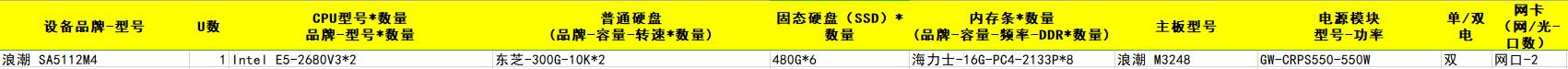 浪潮 SA5112M4 Intel E5-2680V3*2 东芝-300G-10K*2 海力士-16G-PC4-2133P*8