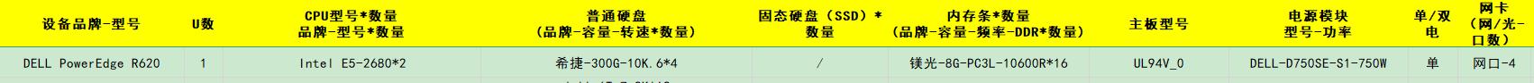 DELL PowerEdge R620 Intel E5-2680*2 希捷-300G-10K.6*4 镁光-8G-PC3L-10600R*16