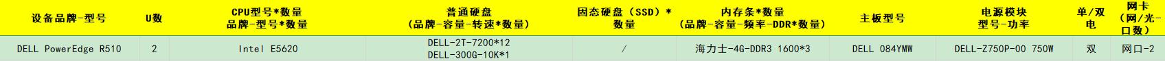 DELL PowerEdge R510 Intel E5620 DELL-2T-7200*12 DELL-300G-10K*1 海力士-4G-DDR3 1600*3